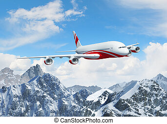 White passenger plane above the mountains - White passenger...