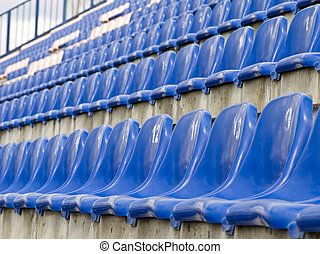 stadium seats - Rows of the empty stadium blue seats