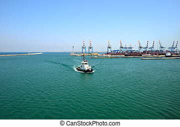Haifa sea port - View of tugboat at Haifa port, Israel