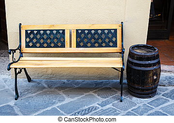 Wooden Bench and Wine Cask in Montalcino, Tuscany, Italy