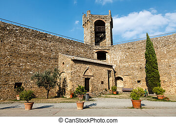 Yard in the Castle of Montalcino, Tuscany, Italy