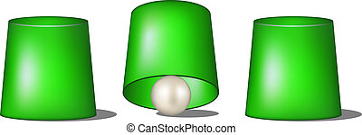Thimblerig with green cups and ball on white background