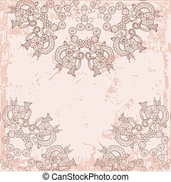 vintage card with lace pattern on pink