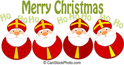 Funny christmas illustration - four happy santa clauses.