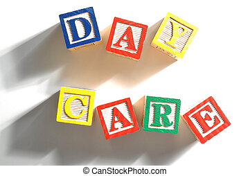 Day care - Alphabet Blocks spelling the words day care