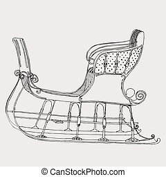 sleigh - Original drawing of black and white winter sleigh....