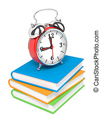 Alarm Clock on Pile of Books.