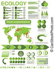 Ecology info graphic - architecture, arrow, buildings,...