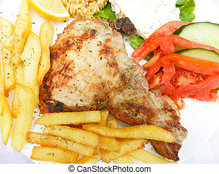 Grilled steak and french fries