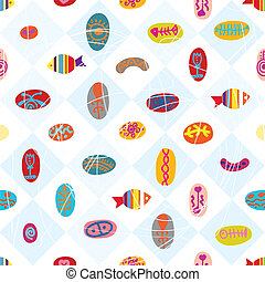 Plaid ethnic seamless pattern with fish
