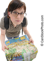 Young woman in big glasses holds map of Russian city Soshi