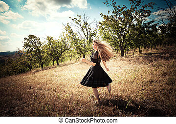 running across field