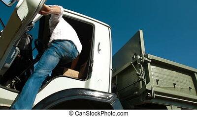 Manejar, basurero, camión