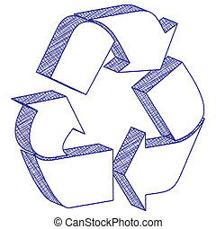3D drawing recycling symbol