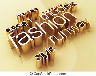 Fashion world - Fashion concept, a gold shiny metal, 3D...
