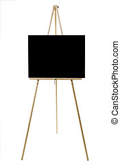 Black Canvas - Blank canvas on an easel isolated on white...