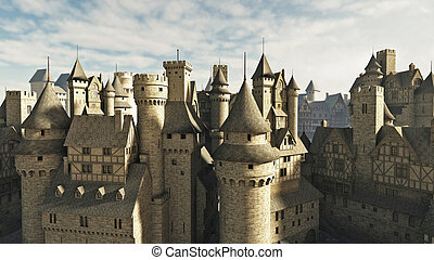 Medieval Rooftops - Medieval or fantasy town rooftops, 3d...