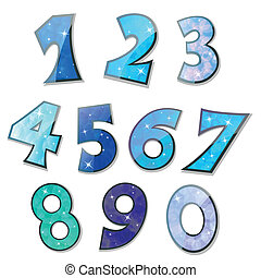 Vector Set of sparkling numbers - Vector illustration of...