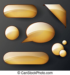 Vector set of golden shiny elements - Vector Illustration of...
