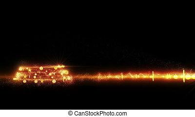 Gold lights Christmas Tree