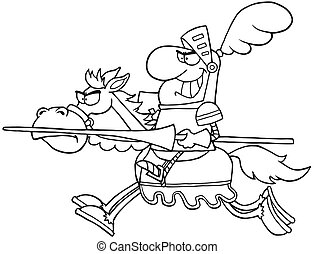 Outlined Knight Riding Horse - Outlined Happy Knight Riding...