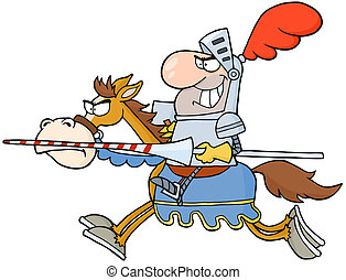 Happy  Knight Riding Horse Cartoon Character
