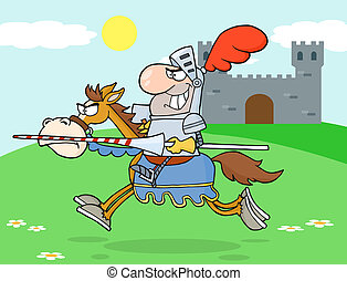 Knight Riding Horse In The Background Of Medieval Castle