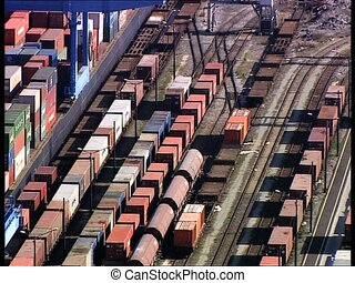 CONTAINERS in harbor overhead shot - Containers in a harbor,...