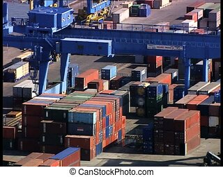 CONTAINERS in harbor overhead close