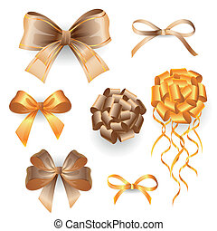 Vector set with golden gift bows - Vector Illustration of...