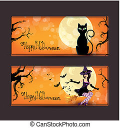 Vector set of halloween banners - Vector Illustration of Two...