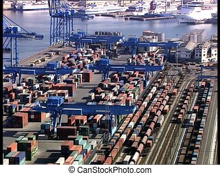 CONTAINERS in a harbor overhead - Containers in a harbor,...