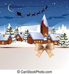 Vector Christmas night in the Village - Vector Illustration...