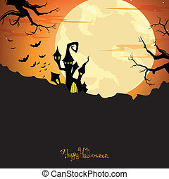 Vector Halloween Background with Castle - Vector...