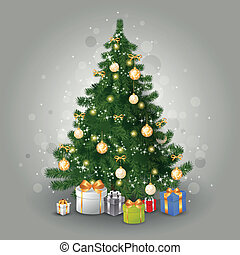 Vector Christmas Tree - Vector Illustration of a Christmas...