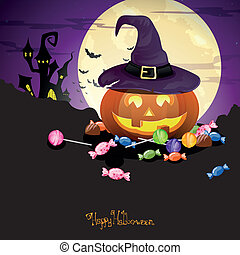 Vector Halloween Pumpkin with Candies - Vector Illustration...