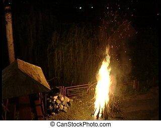 FIRE bonfire - Bonfire, overhead shot.