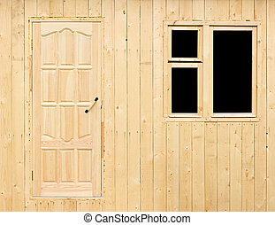Wall of rural house under construction - Wooden wall of the...