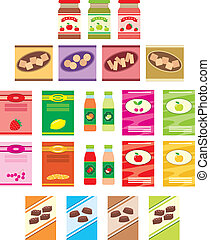 Set of packings of products - Vector illustration. It is...