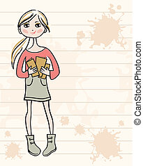 Hand drawn girl with books