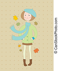 Hand drawn little girl in a coat wi