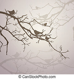 Vector Branches with Birds - Vector Illustration of Branches...