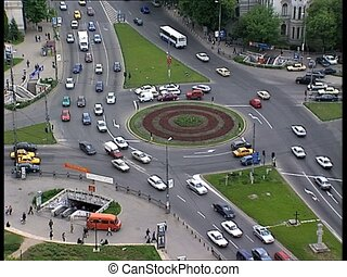 traffic in Bucharest overhead view - Traffic in Bucharest...