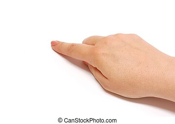 Pointing hand - Female hand pointing on a white background