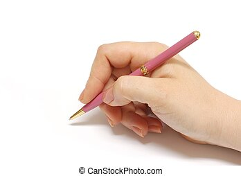 Hand and pen - Female hand holding a pen Great photo for...