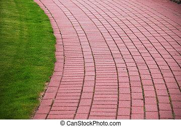 Garden stone path with grass, Brick Sidewalk - Garden stone...