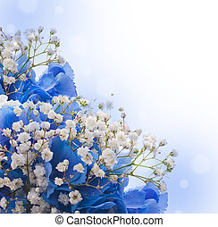 Flowers in a bouquet, blue hydrangeas and white flowers