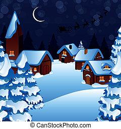 vettore, santa, Claus, guida, villaggio