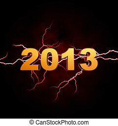 golden year 2013 with lightning over dark background