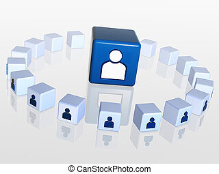 cubes with person signs - circle of 3d cubes with person...
